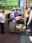 Unloading canned goods